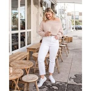 Oh Polly Pink off the shoulder knit sweater